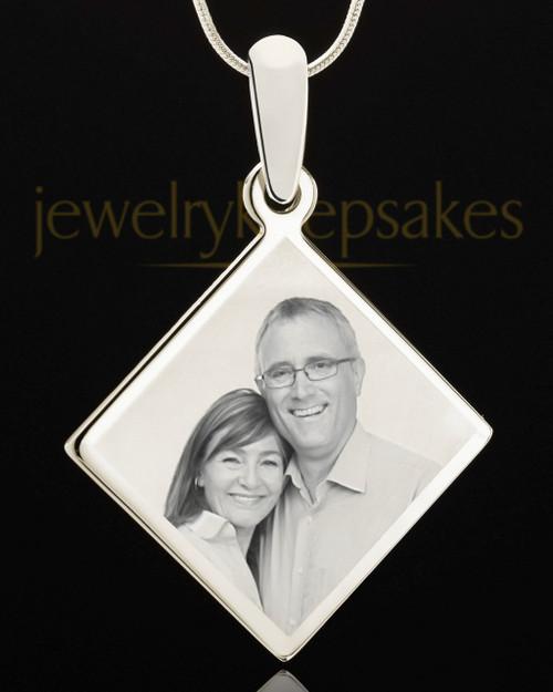 Photo Engraved Diamond Pendant Stainless Steel