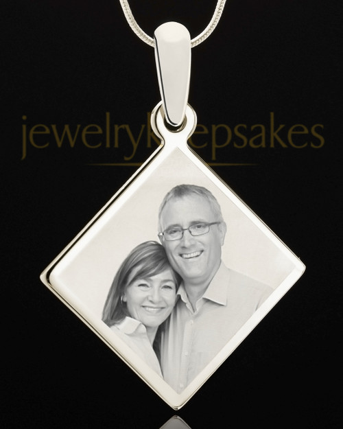 Photo Engraved Diamond Pendant Stainless Steel