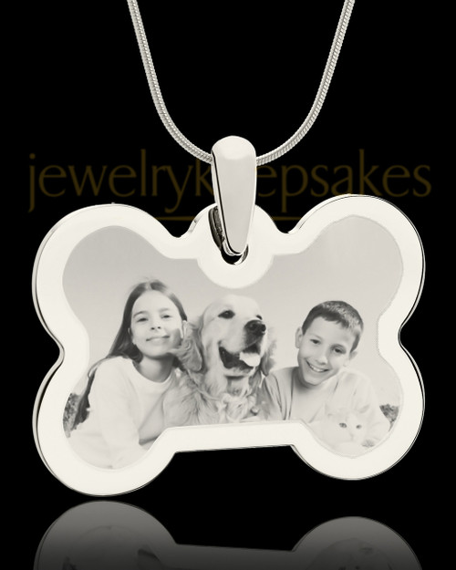 Photo Engraved Bone Pet Pendant Silver Plated