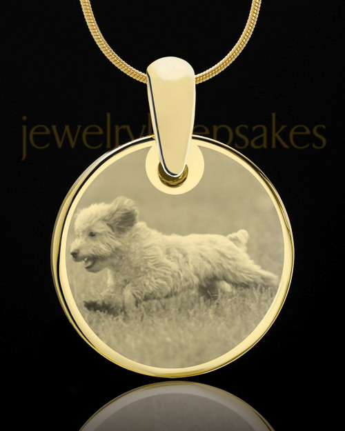 Photo Engraved Round Pet Pendant Gold Plated over Stainless Steel