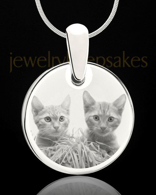 Photo Engraved Round Pet Pendant Stainless Steel