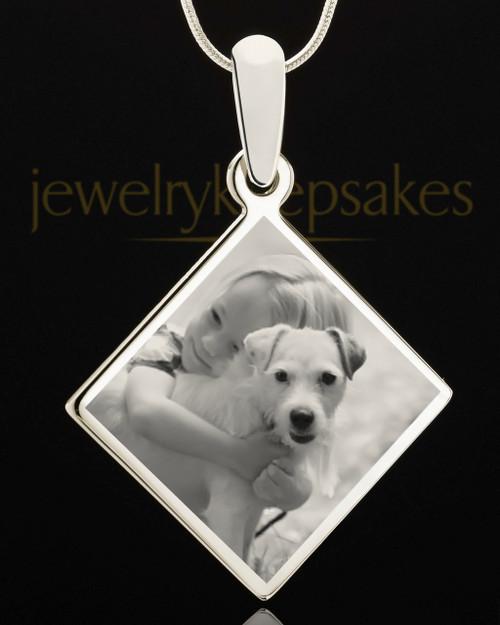 Photo Engraved Diamond Pet Pendant Stainless Steel