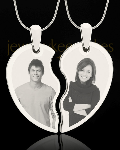 Double Photo Engraved Heart Pendant Silver Plated