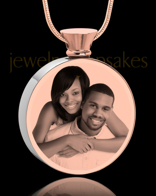 Photo Engraved Round Stainless Rose Gold Cremation Pendant