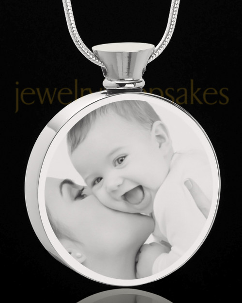 Photo Engraved Round Stainless Steel Cremation Pendant