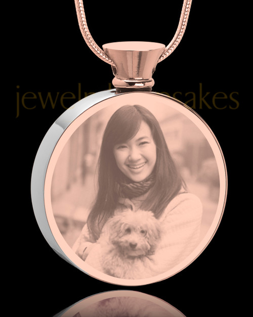 Photo Engraved Round Stainless Rose Gold Pet Cremation Pendant