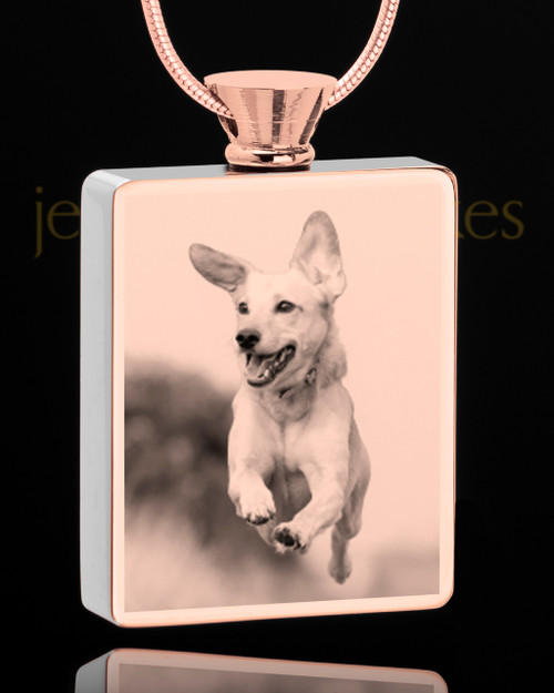 Photo Engraved Stainless Rose Gold Plated Rectangle Pet Pendant