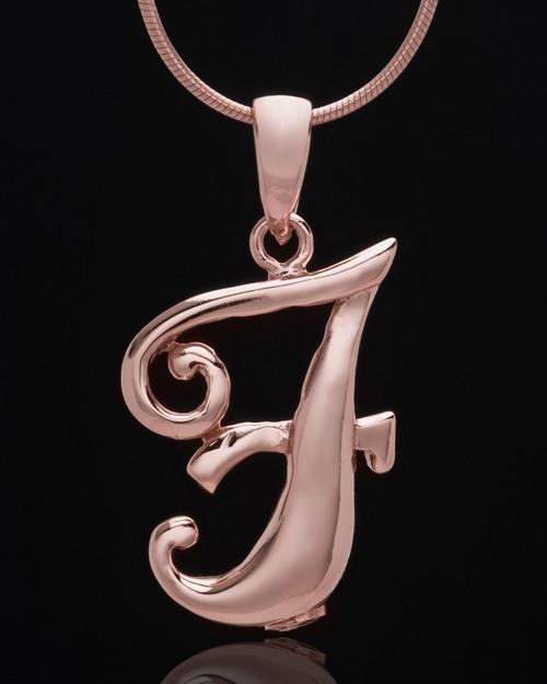"Rose Gold Plated ""F"" Keepsake Jewelry"