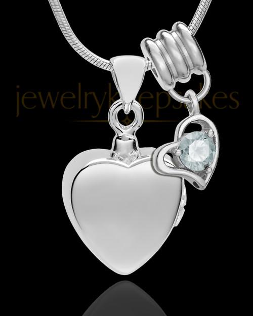 Sterling Silver Gentle Heart April Urn Pendant