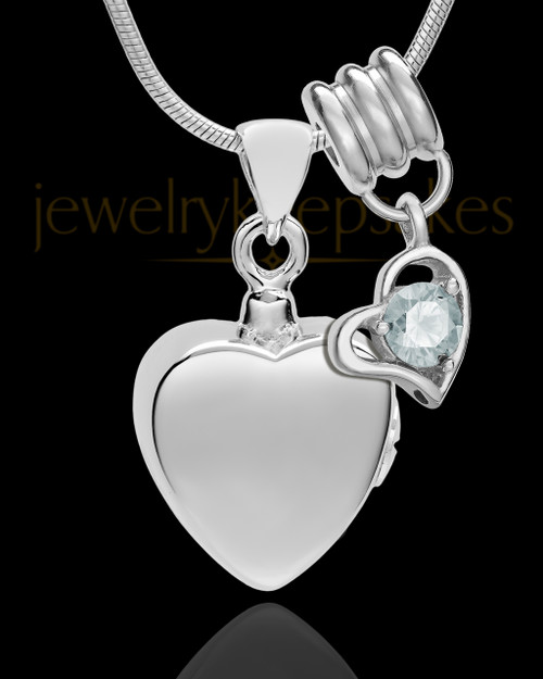 Sterling Silver Gentle Heart April Urn Pendant