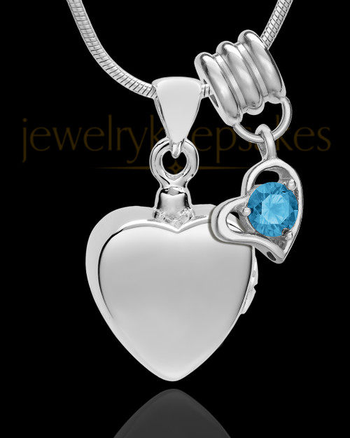 Sterling Silver Gentle Heart December Urn Pendant