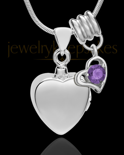 Sterling Silver Gentle Heart February Urn Pendant