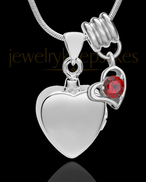Sterling Silver Gentle Heart January Urn Pendant