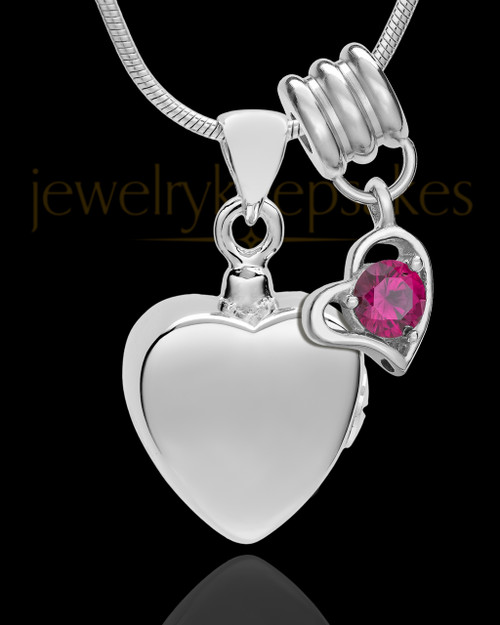 Sterling Silver Gentle Heart July Urn Pendant