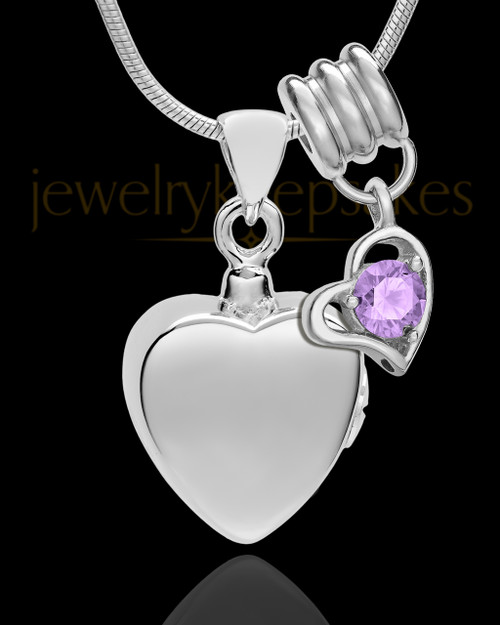 Sterling Silver Gentle Heart June Urn Pendant