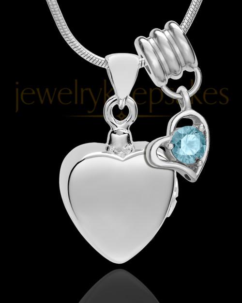 Sterling Silver Gentle Heart March Urn Pendant