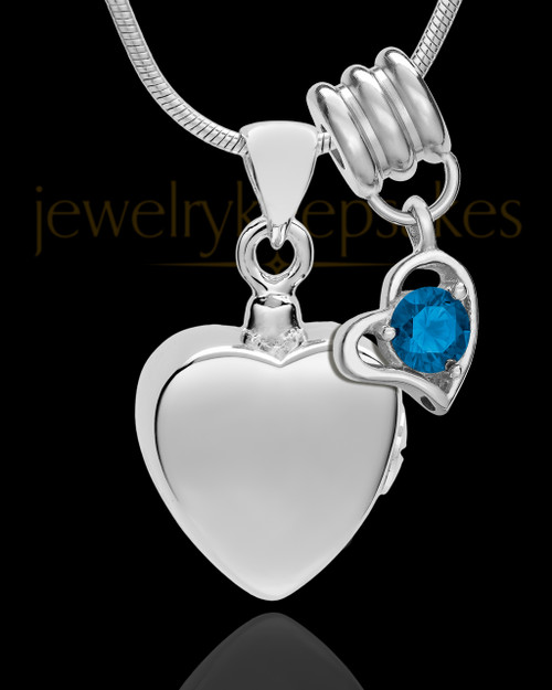Sterling Silver Gentle Heart September Urn Pendant
