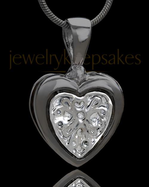 Black Plated Lattice Heart Urn Pendant