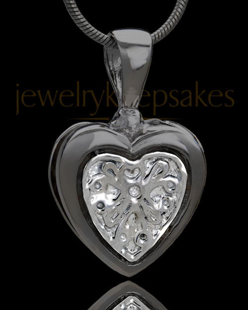 Black Plated Lattice Heart Urn Pendant