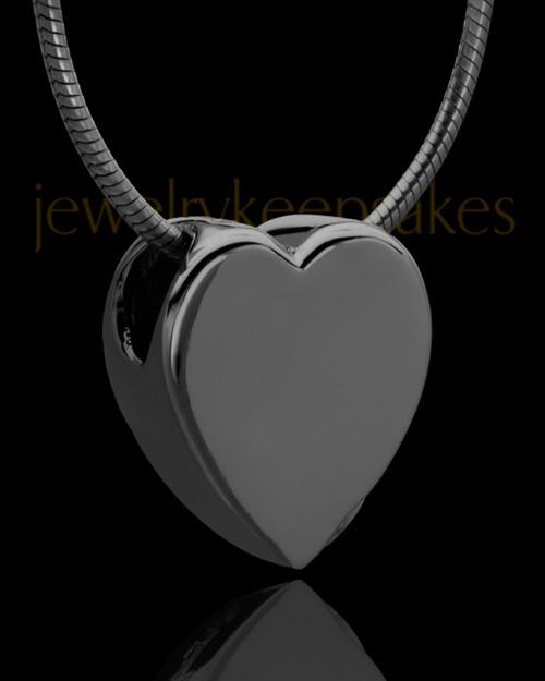 Black Plated Natural Heart Keepsake Jewelry