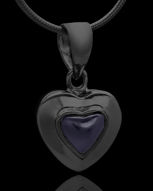 Black Plated Evening Heart Keepsake Jewelry