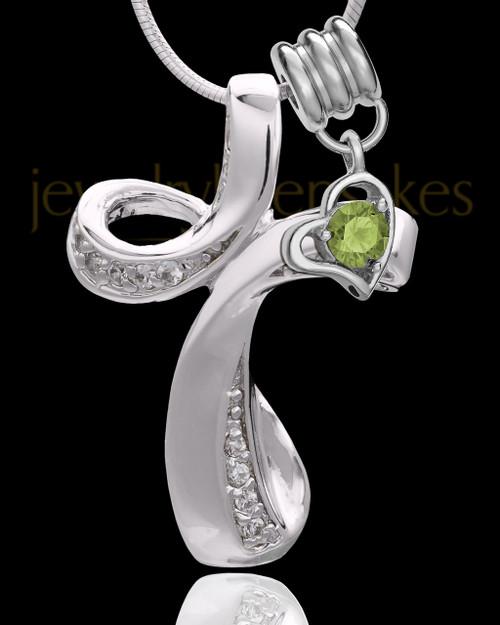 Sterling Silver August Fluid Cross Keepsake Jewelry