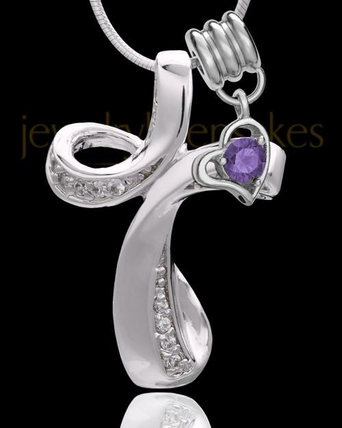 Sterling Silver February Fluid Cross Keepsake Jewelry