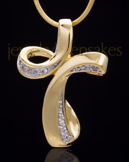 Gold Plated Fluid Cross Keepsake Jewelry
