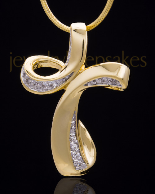 Gold Plated Fluid Cross Keepsake Jewelry