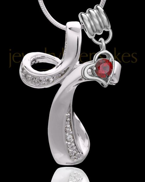 Sterling Silver January Fluid Cross Keepsake Jewelry