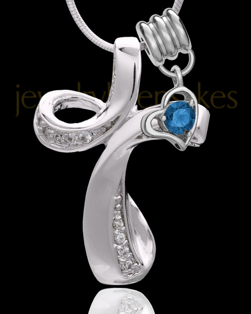 Sterling Silver September Fluid Cross Keepsake Jewelry