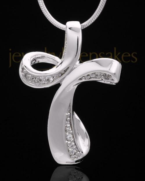 Sterling Silver Fluid Cross Keepsake Jewelry