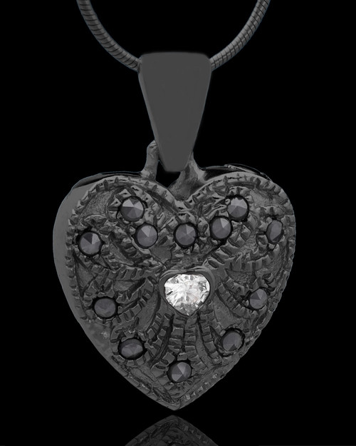 Black Plated Noble Heart Keepsake Jewelry