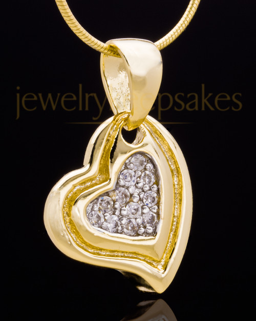 Gold Plated Heart Trio Keepsake Jewelry