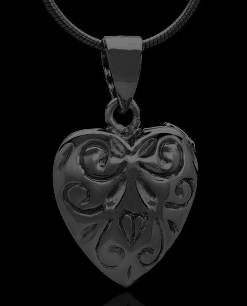 Black Plated Crowned Heart Keepsake Jewelry