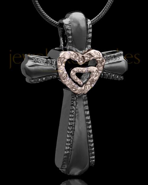 Black Plated Cross of Love Keepsake Jewelry