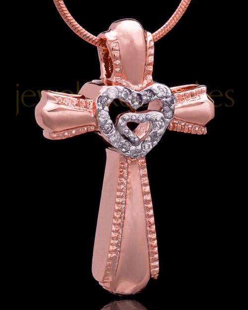 Rose Gold Plated Cross of Love Keepsake Jewelry