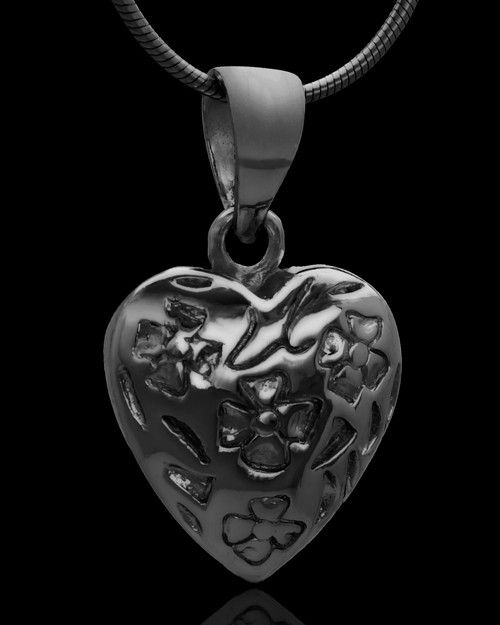 Black Plated Spooled Heart Keepsake Jewelry