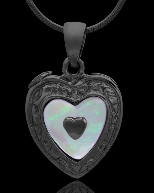 Black Plated Shimmer Heart Keepsake Jewelry