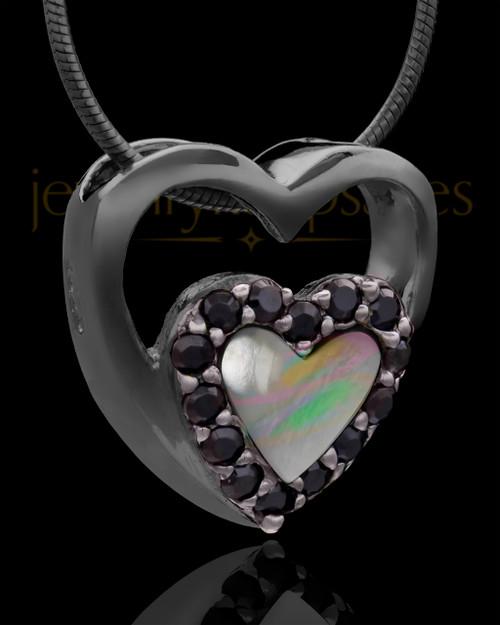 Black Plated Heart Duo Keepsake Jewelry