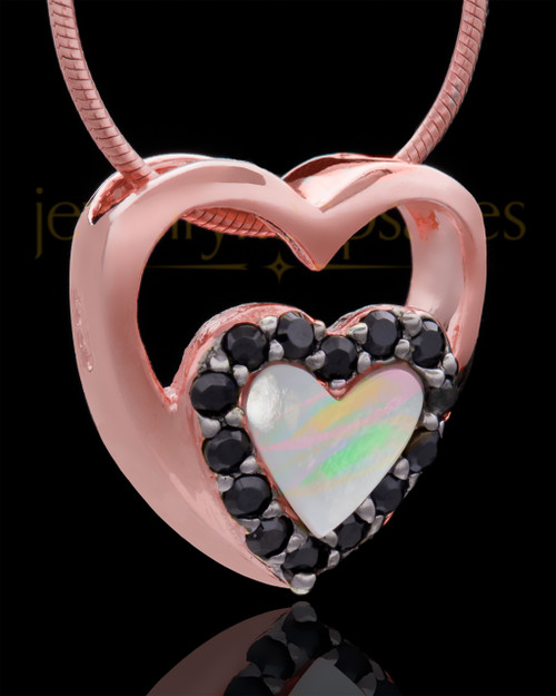 Rose Gold Plated Heart Duo Keepsake Jewelry