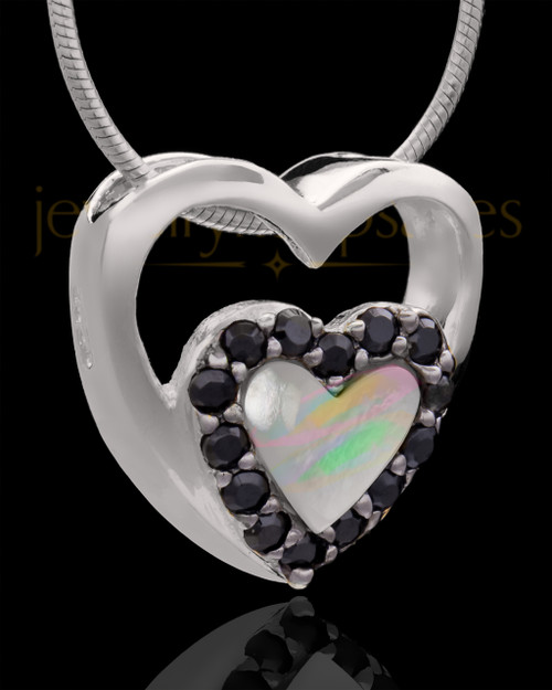 Silver Plated Heart Duo Keepsake Jewelry