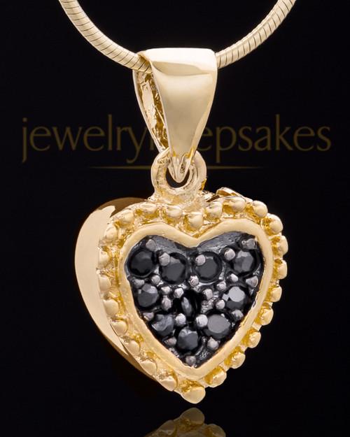 Gold Plated Darkness Heart Keepsake Jewelry
