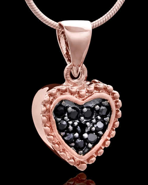 Rose Gold Plated Darkness Heart Keepsake Jewelry