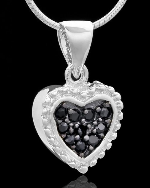 Silver Plated Darkness Heart Keepsake Jewelry
