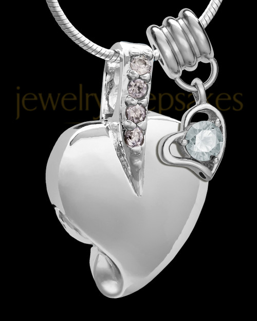 Sterling Silver April Weeping Heart Keepsake Jewelry