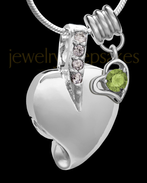 Sterling Silver August Weeping Heart Keepsake Jewelry