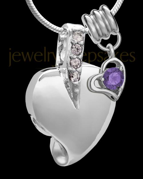 Sterling Silver February Weeping Heart Keepsake Jewelry