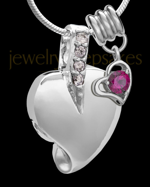 Sterling Silver July Weeping Heart Keepsake Jewelry