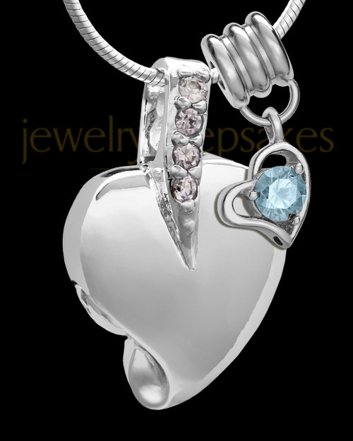Sterling Silver March Weeping Heart Keepsake Jewelry